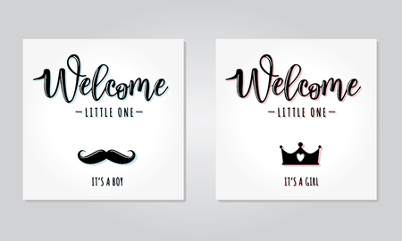 Vector illustration of a baby shower Invitationswith Welcome little one. Its a girl and boy. Can be used for cards, flyers, posters, t-shirts.