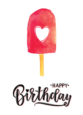 Vector illustration of a Happy Birthday Invitation with ice cream. Greeting card with Happy Birthday inscription.