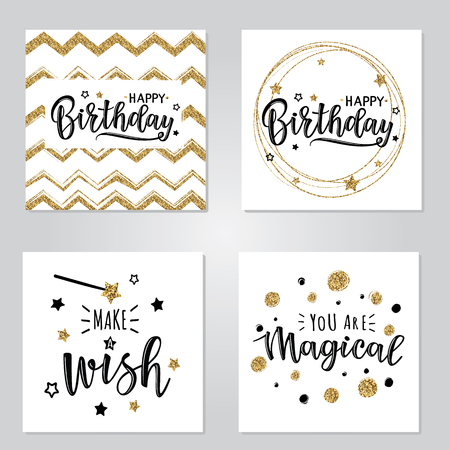 Vector illustration of a Happy Birthday Invitation set. Greeting cards with Happy Birthday inscription. Can be used for cards, flyers, posters, t-shirts.