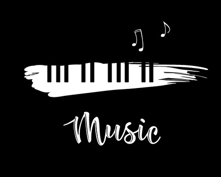Vector illustration of a music design element in doodle style. Grunge black and white piano keys