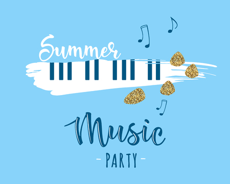 Vector illustration of a music design element. Summer music party. Can be used for cards, flyers, posters. Illustration