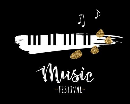 Vector illustration of a music design element in doodle style. Illustration