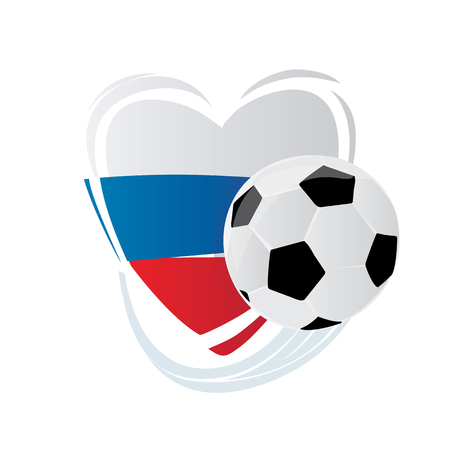 Heart in colors of Russian flag and a ball. Russian style. Can be used for invitations, gifts, leaflets, brochures.