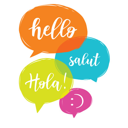 Hello in different languages. Different language speech bubble - Hello concept.