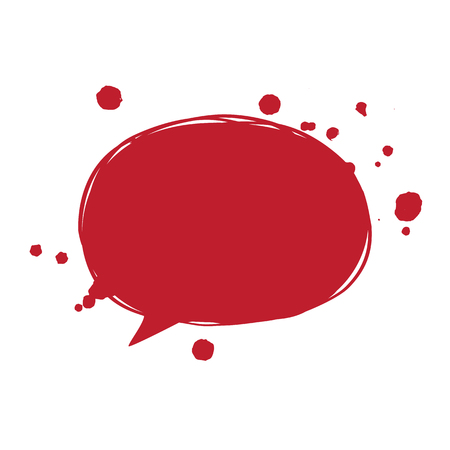Vector illustration of a blood speech bubble. Red blood drops. Simple symbol for banners, cards, posters