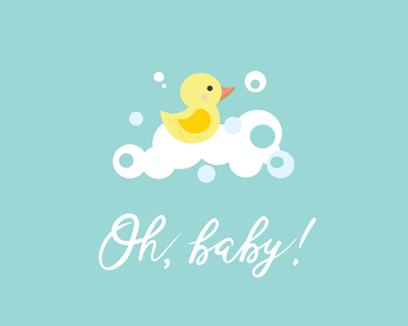Vector illustration of a baby shower Invitation with a cute yellow duck. Can be used for cards, flyers, posters, t-shirts.