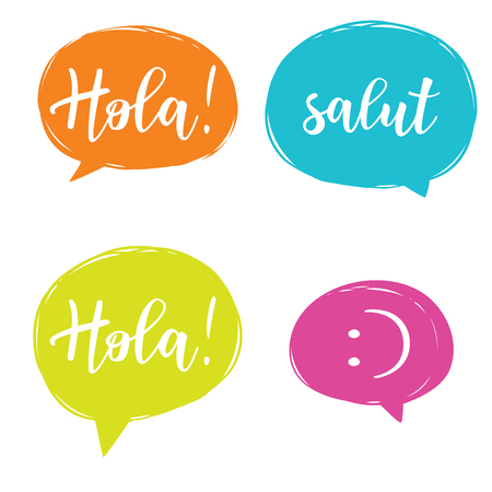 Hello in different languages set. Different language speech bubble - Hello concept.