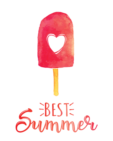 Best Summer. Creative graphic vector lettering illustration. Retro design with an ice-cream.
