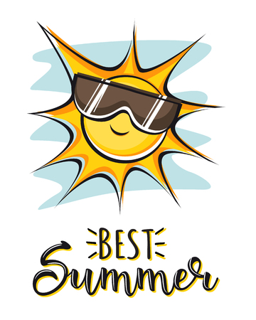Best Summer. Creative graphic vector lettering illustration. Retro design with sun.
