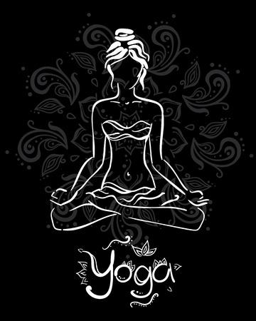 Theme of meditation and yoga. Vector illustration for an yoga studio. Black and white.