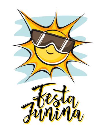 Festa Junina illustration traditional Brazil June festival party. Vector illustration of lettering poster.