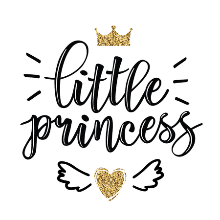 Vector illustration of Little Prince, text for girls clothes. Royal badge, tag, icon. Inspirational quote card, invitation, banner, lettering poster. Vektoros illusztráció