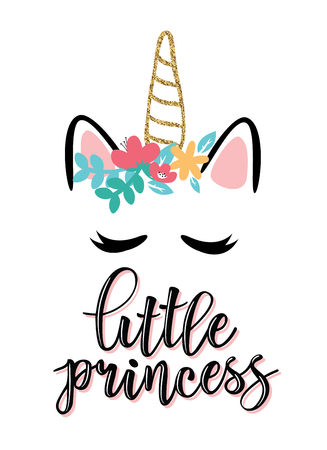 Vector illustration of Little Princess, text for girls clothes. Royal badge, tag, icon. Inspirational quote card, invitation, banner, lettering poster. Foto de archivo - 107106197