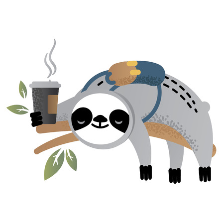 Cute vector sloth bear animal with coffee.Back to school. Can be used for cards, flyers, posters, t-shirts.