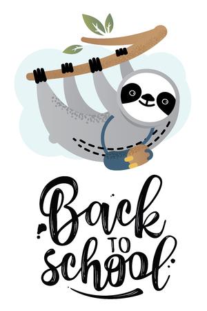 Nettes Vektorfaultierbärentier mit einer Schultasche. Zurück zur Schule. Kann für Karten, Flyer, Poster, T-Shirts verwendet werden.