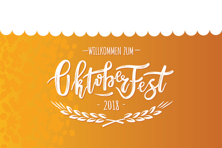 Hand sketched Octoberfest text on textured background. Lettering for Octoberfest holidays greeting cards, invitations, banners, postcards. Çizim