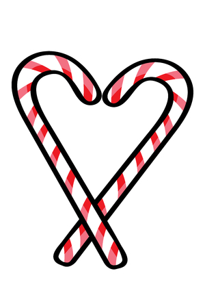 Christmas theme, candy canes on white background, vector illustration.  Can be used for invitation, posters, cards and etc.