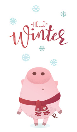 Let it snow banner. Cute piggy character in a winter scarf looking up. Greeting illustration. Symbol of winter holidays. Zodiac sign. Perfect for calendar and celebration card.