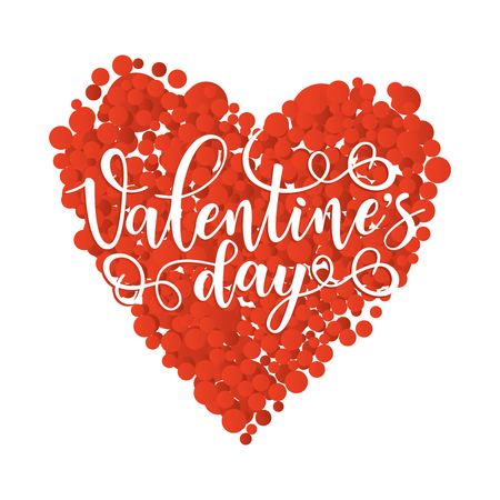 Inspirational lettering poster for Valentines Day with a red heart. Use for posters, t-shirt prints, cards