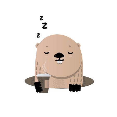 Happy Groundhog Day. Cute groundhog popping up from his burrow. Illustration