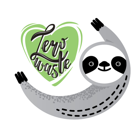Zero waste handwritten text title sign with a cute sloth. Waste management concept isolated illustration on white background.
