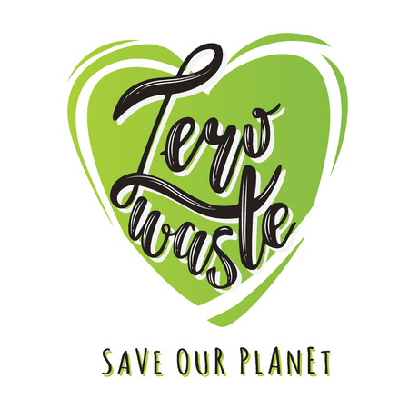 Zero waste handwritten text title sign with a green heart. Waste management concept isolated illustration on white background. Vectores