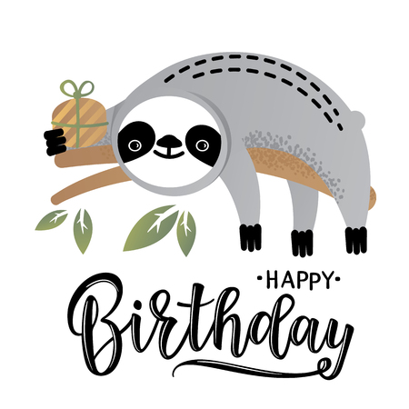 Vector illustration of a cute sloth. Greetings postcard, card, invitation, poster, banner template.