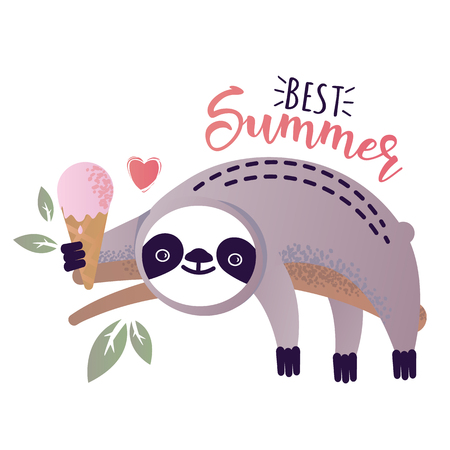 Vector illustration of a kawaii sloth  with ice-cream. Greetings postcard, card, invitation, poster, banner template. Çizim