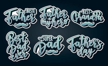 Vector illustrations for invitation, congratulation or greeting cards. Fathers day stickers, typography design, lettering Çizim