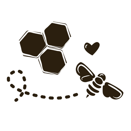 Vector logo design template with a bee and honeycombs.