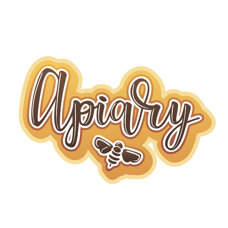 Vector illustration of apiary lettering. Logo design template with a bee Çizim