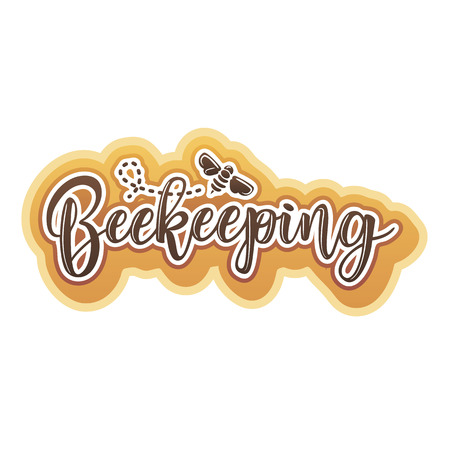Vector illustration of a beekeeping lettering. Logo design template with spoons of honey and a bee