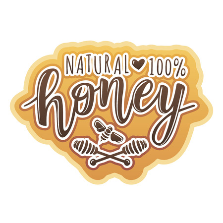 Vector illustration of a 'natural honey' lettering. Logo design template with spoons of honey.