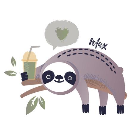 Vector illustration of a kawaii sloth. Greetings postcard, card, invitation, poster, banner template.  イラスト・ベクター素材