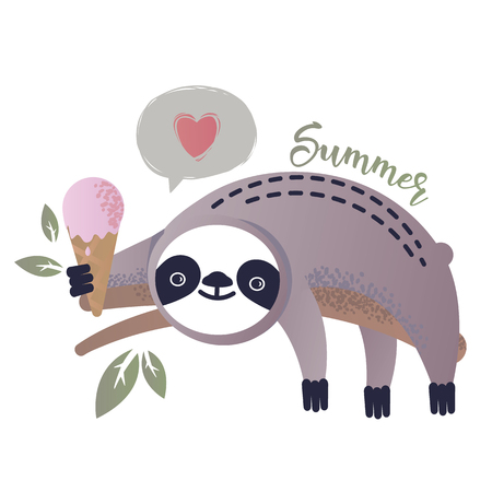 Vector illustration of a kawaii sloth  with ice-cream. Greetings postcard, card, invitation, poster, banner template. Vectores