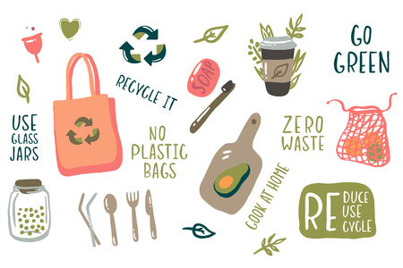 Hand drawn elements of zero waste life in vector - glass jar, eco grocery bags, wooden cutlery, toothbrush, menstrual cup, thermo mug