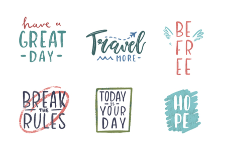 Set of inspirational quote, motivation. Vector lettering, inscription, calligraphy design.