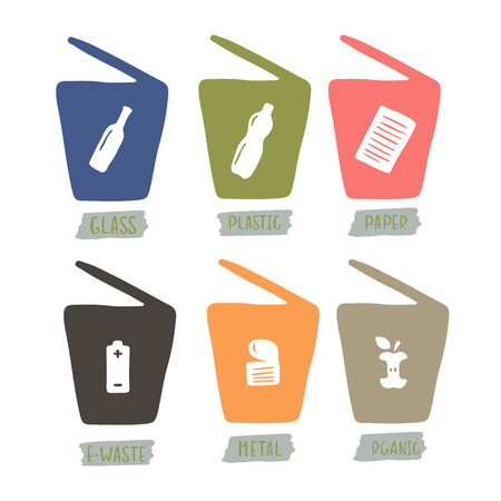 Hand drawn garbage cans for sorting waste. Vector set.
