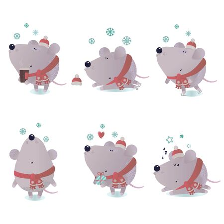 New year and winter rat character Vectores