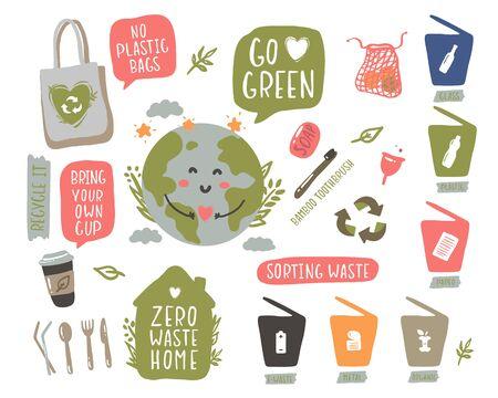 Hand drawn elements of zero waste