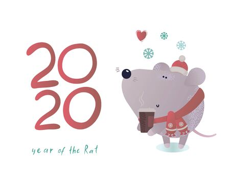 New year and winter rat character.Christmas animal simple illustration for greeting cards, calendars, prints etc. Mouse for winter design. Vector illustration