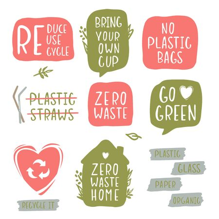 Hand-drawing inscriptions on a theme Zero Waste