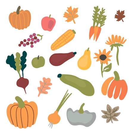 Fresh harvest icon set isolated on white background Stock Illustratie