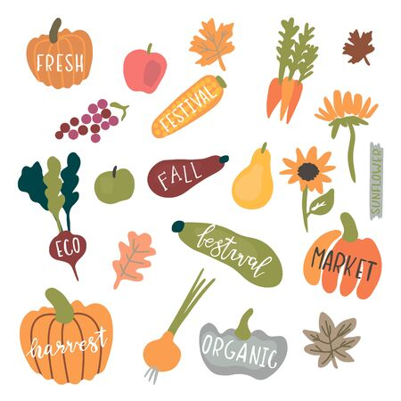 Fresh harvest icon set isolated on white background Foto de archivo - 130407002