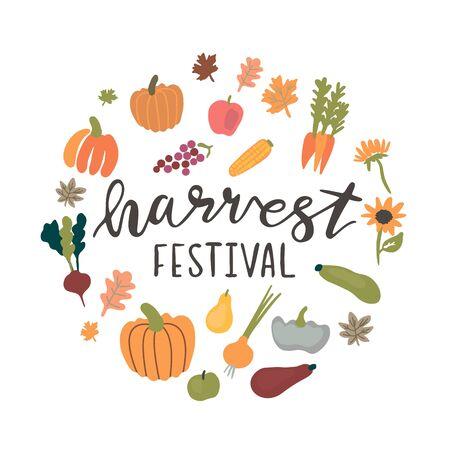 circle frame for harvest festival Vectores