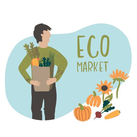 Vector Illustration of an eco market poster. It can be used for cards, brochures and other promotional materials. Stock Illustratie