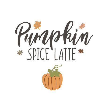 Handwritten Lettering Pumpkin Spice Latte Foto de archivo - 130407001