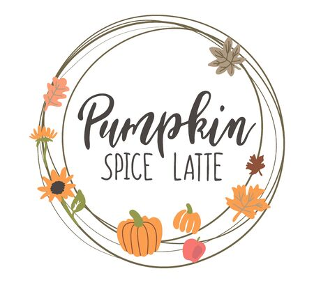 Handwritten Lettering Pumpkin Spice Latte Foto de archivo - 130407005