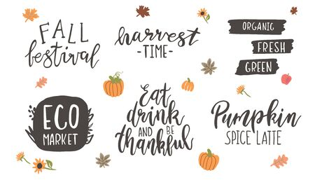 Fresh harvest lettering set isolated on white background