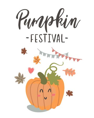 Handwritten Lettering Pumpkin Festival Stock Illustratie